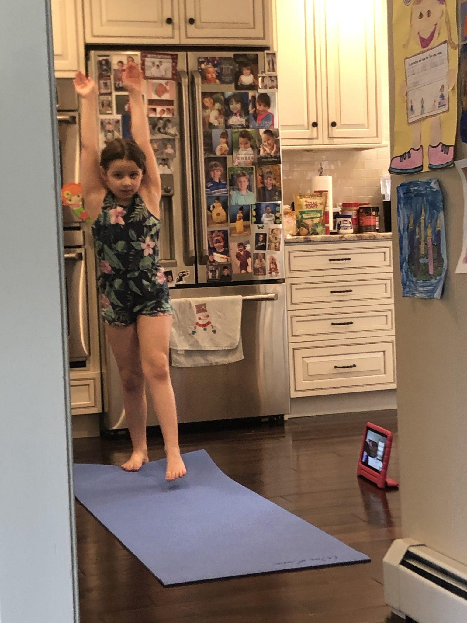 Child doing gymnastics